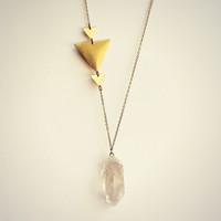 quartz triangle necklace, geometric necklace, layering necklace, stone necklace, boho necklace