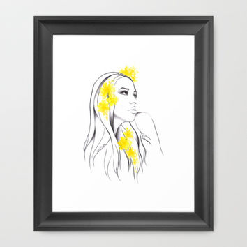 Yellow Framed Art Print by EDrawings38