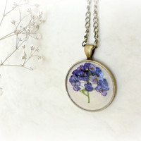 Alyssum Maritimum resin necklace-Botanical specimen- Real pressed preserved flower pendant.  mauve,pink.Gift for her.Nature lover