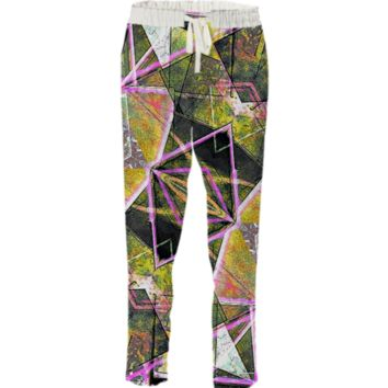 Geometric Grunge Pattern All Over Printed Drawstring Pant created by dflcprints | Print All Over Me