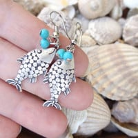 Fish Turquoise Gemstone Earrings