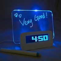 Godeeptech 5 LED Message Board with Highlighter Digital Alarm Clock with 4 Port USB Hub