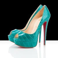 Christian Louboutin - lady peep croco, platforms, jade, green, lady peep, women?s shoes