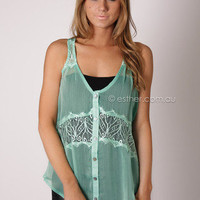 Myla lace detail cami - moss green at Esther Boutique