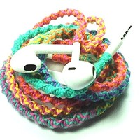 Tangle Free Earbuds for iPhone NEW Retro Flower Power Remix with Microphone and Volume Control - by MyBuds