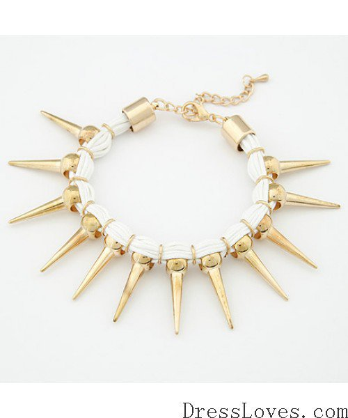White Solid Gold Punk Rivet Bracelet@09013174w