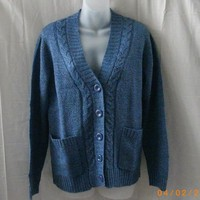 New petite Tradition Country Collection long-sleeved blue cardigan - Sweaters