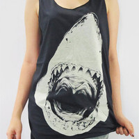 SHARK Attack Jaws Head Animal Shirt Animal Tank Top Women Vest Shirt Animal Tunic Top Animal Singlet Animal Sleeveless Black Shirt Size M