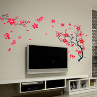 Removable Vinyl Kids Wall Decal Wall Sticker PEEL and STICK -  Red Trailing Cherry Blossom Tree Decal