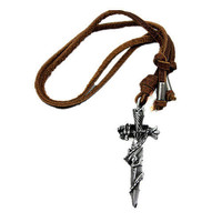 soft leather necklace crossing pendant men leather long necklace, women leather necklace  PL0344