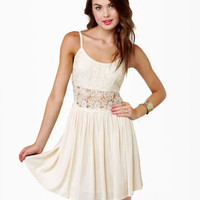 Pretty Cream Dress - Ivory Dress - Lace Dress - Skater Dress - $51.00