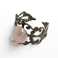 Rose Quartz Ring  - Gunmetal Vintage-Style Filigree Ring with 10mm Rose Quartz Cabochon, Adjustable
