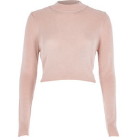 River Island Womens Light pink ribbed high neck crop top