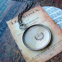 antique monocle necklace long chain