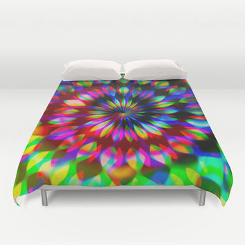 Psychedelic Rainbow Swirl Duvet Cover by Webgrrl