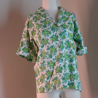 Vintage Cotton Shirt with Floral Print