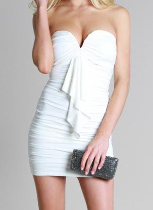 Ibiza White Ruffled Strapless Dress