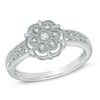 Diamond Accent Flower Ring in Sterling Silver - Size 7