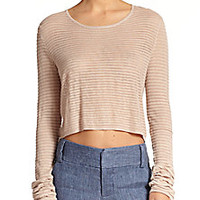 Alice + Olivia - Cropped Cashmere-Blend Fine-Knit Sweater - Saks Fifth Avenue Mobile