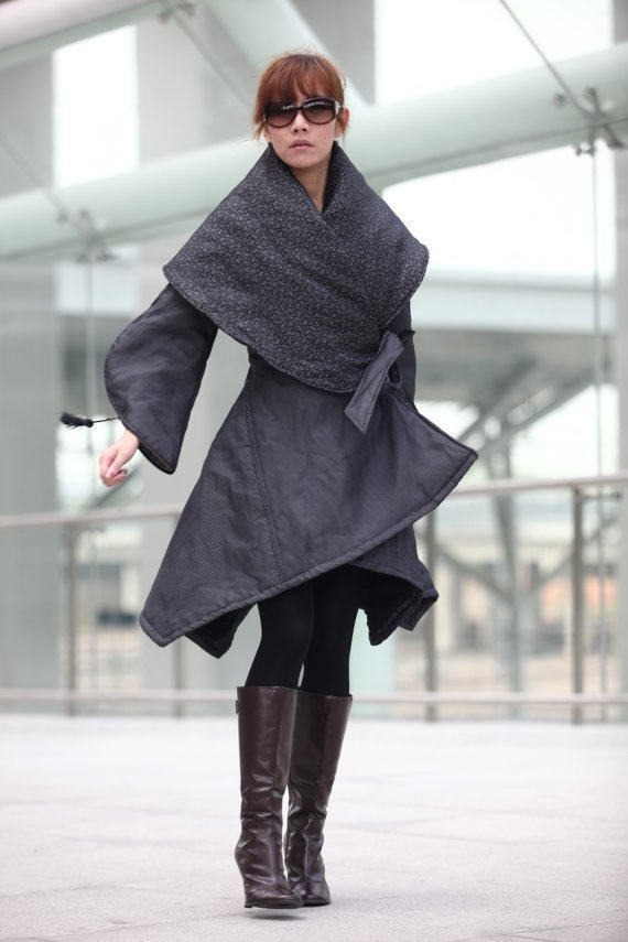 "Grey Classical ""X"" Shape Warm Long Cotton Coat - NC203"
