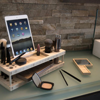 The Original Beauty Station: Makeup Organizer and Display Case with Docking Station for Phones and Tablets (Free USA Shipping)