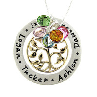 Family Tree Necklace with Round Birthstones (Large) - Hand Stamped Sterling Silver Mothers Jewelry with Bronze Tree of Life charm