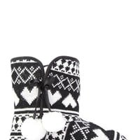 Fair Isle Print Slipper Boot with Pom Pom Detail