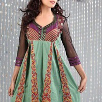 Grayish bluish green Printed Georgette fabric Tunic by REEMAS on Sense of Fashion