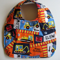 Reversible Baby Bib - Construction Work Zone