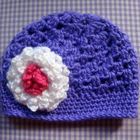 Crochet Baby Girl Hat Purple 6-12 Months