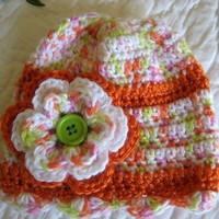 Crochet  Baby Girl Hat in Tangerine, Lime and White 0-3 Months
