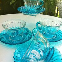 Four Aqua Vintage Tea Cups and Saucers
