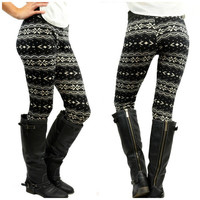 Starry Nights Black Fair Isle Fleece Leggings - One