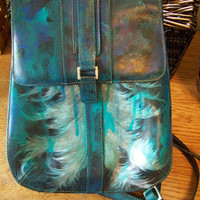 Hand-Painted Beautiful Leather Angel Wings Purse Backpack Style