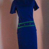 Vintage Blue Dress With Green Trim and Green Buttons