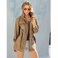Safari-Style Belted Parka with High Collar