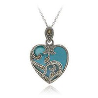 "Sterling Silver Marcasite & Turquoise Heart Necklace, 18"": Jewelry: Amazon.com"