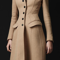 CRPE WOOL TAILORED COAT