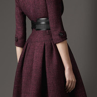 FULL SKIRTED TWEED COAT