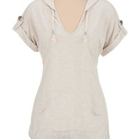 rolled sleeve washed hooded tunic top