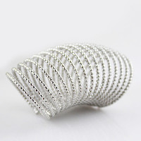 Silver Bead Spiral Multilayer Ring - Sheinside.com