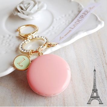 New LADUREE Macaron Pink Keychain Ring Rhinestone Charm Gift Box from Brumaire Boutique