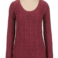 long sleeve cable front tunic sweater