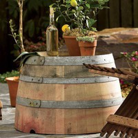 Wine Barrel Bottoms-Up Table & Planter - VivaTerra