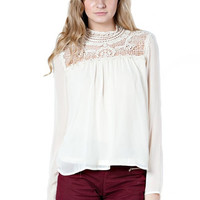 Ever After Lace Neck Long Sleeve Blouse - Ivory   Daily Chic