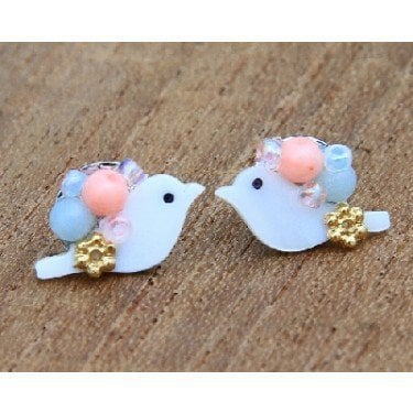JBS1i : Bird &amp; Beads Studs - Blue/Peach - earrings &amp; studs - jewellery