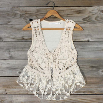 Sky Trails Lace Vest, Sweet Bohemian Clothing