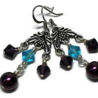 Chandelier Earrings Aqua & Plum Glass