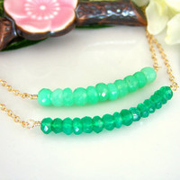 Green chrysoprase and green onyx double bar gold filled necklace