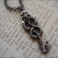 THE DARK MARK - Unisex Harry Potter Inspired Death Eaters Necklace In Gunmetal With Snake Skull Voldemort Dark Arts Evil
